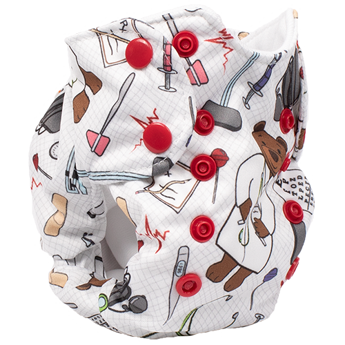 Smart Bottoms - Born Smart New Born Diaper - Organic cloth diaper - Doc Print - Medical print newborn diaper