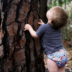 Smart Bottoms - Dream Diaper 2.0 cloth diaper - Forest Friends animals blue cloth diaper -  Organic cotton cloth diaper
