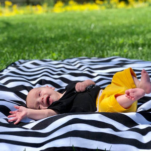 Smart Bottoms - Cuddle Blanket - Manhattan Print - Adult blanket - Children's blanket - Black and white stripe print
