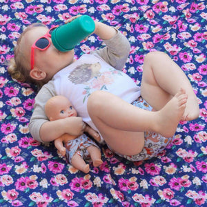 Smart Bottoms - Beach Blanket - Petit Bouquet Print - Waterproof beach blanket - floral print