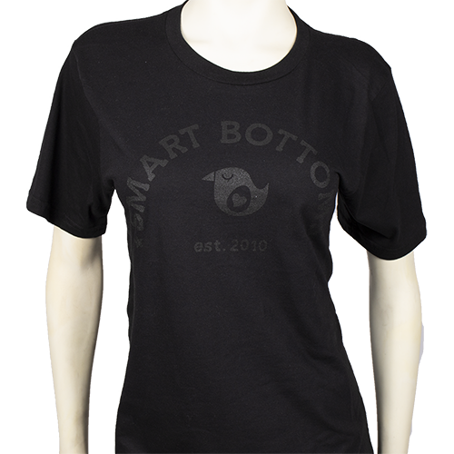 Adult T-shirt - Black on Black Logo - smart bottoms - 100% cotton T-shirt