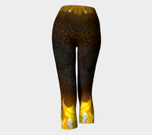 Sunflower in Blue Rain ealanta Capri leggings Capris- ealanta Art Wear
