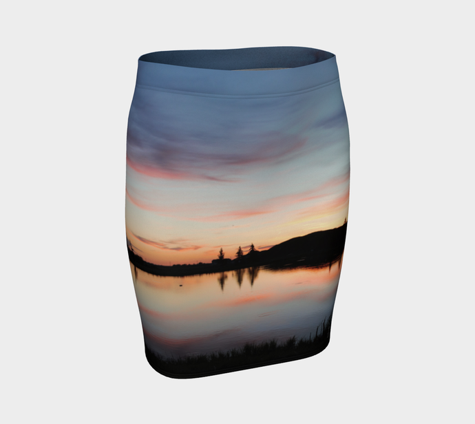 Beaumont Blues Sunset fitted skirt ealanta Fitted Skirt- ealanta Art Wear