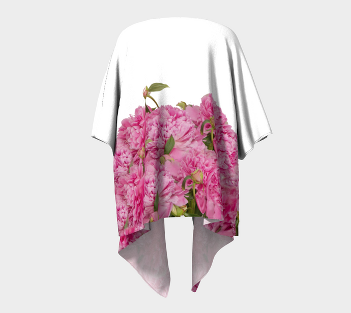 Heirloom Pink Peonies on white 3 Kimono Wrap ealanta