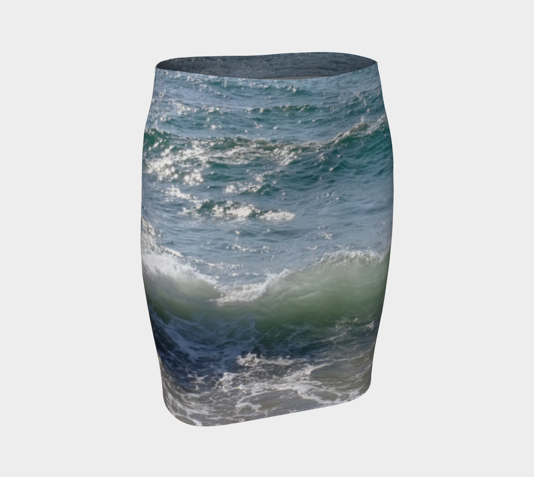 Ocean Splash Fitted Skirt ealanta Fitted Skirt- ealanta Art Wear