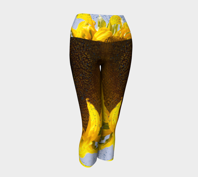 Sunflower in Blue Rain ealanta Capri Yoga leggings/Pants Yoga Capris- ealanta Art Wear
