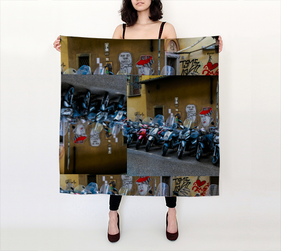 Italian Graffiti Motor Bike Parking Florence Big Square Scarf (36
