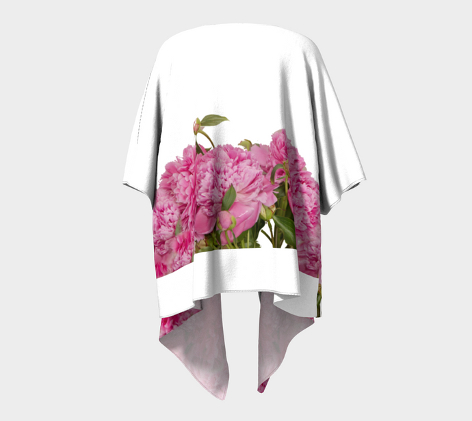 Heirloom Pink Peonies on white 2 Kimono Wrap ealanta