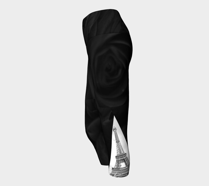 Paris Black Roses &  Eiffel Tower Belle Vie ealanta Yoga Capri leggings Yoga Capris- ealanta Art Wear
