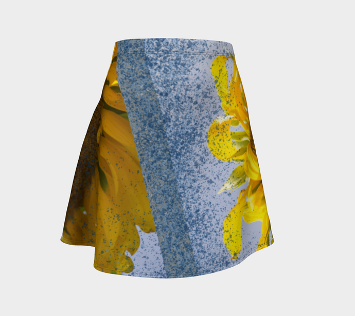 Sunflower in Blue Rain ealanta Flared Skirt Flare Skirt- ealanta Art Wear