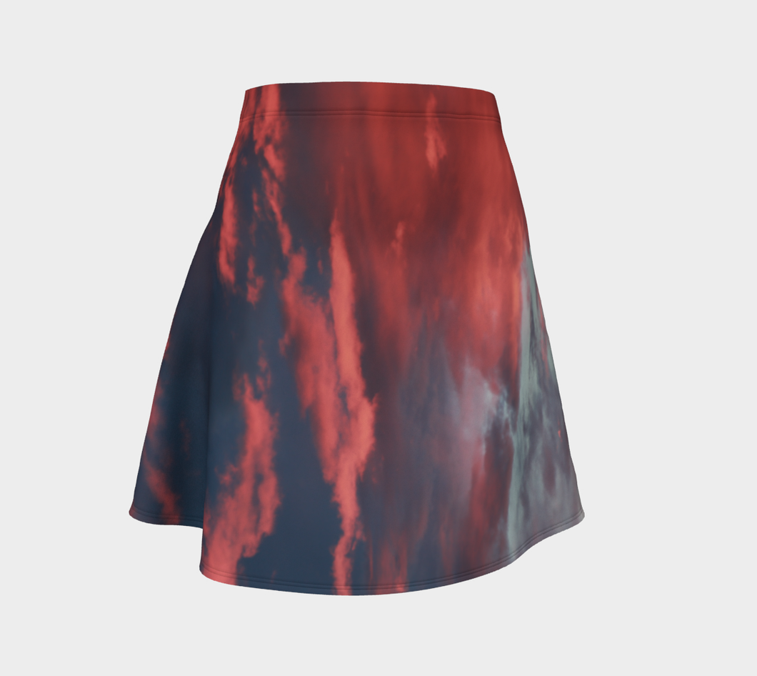 Pink Prairie Skies ealanta skirt with flair Flare Skirt- ealanta Art Wear