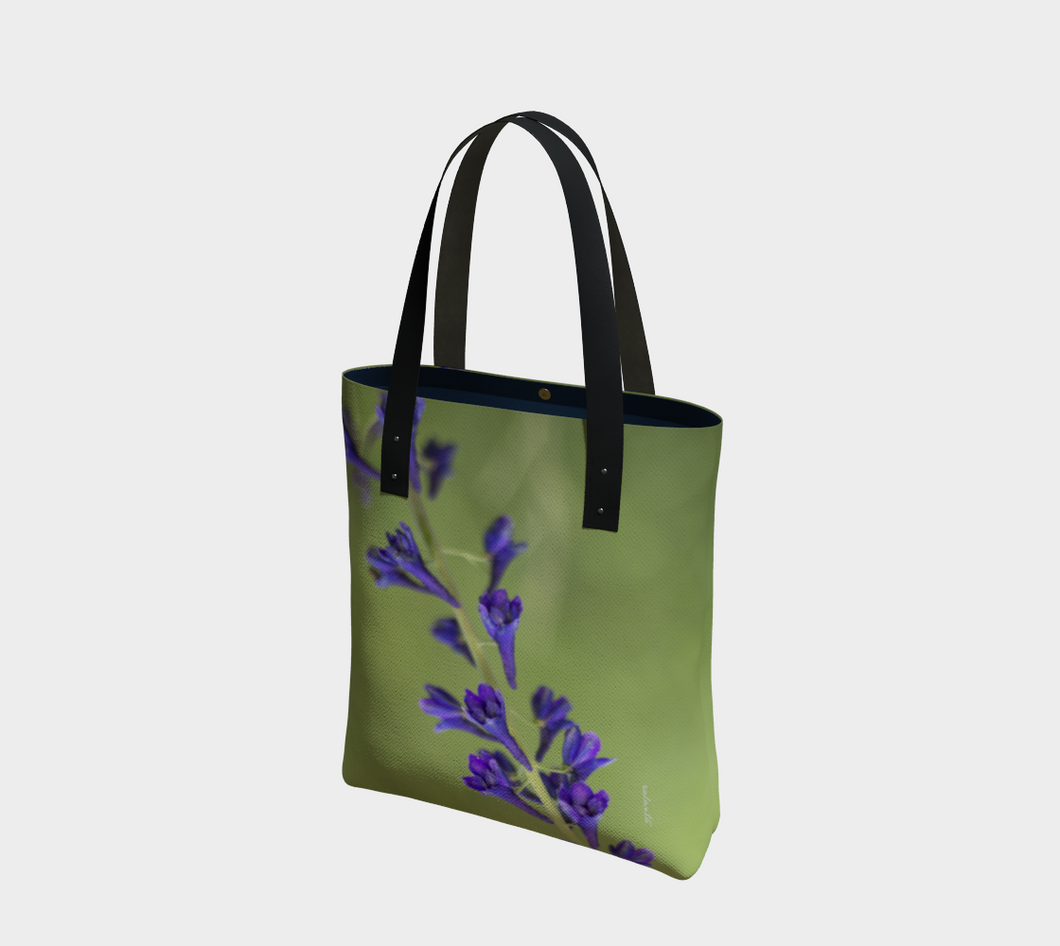 Purple Blossoms Deluxe Tote Lined ealanta Tote Bag- ealanta Art Wear
