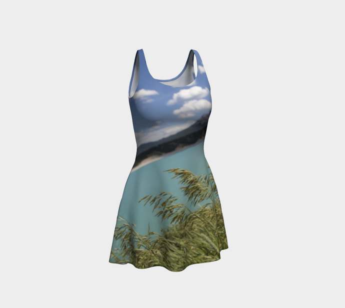 Abraham Lake Alberta Mountain view ealanta Flared Dress Flare Dress- ealanta Art Wear