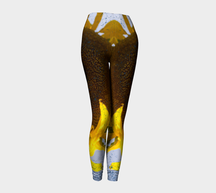 Sunflower in Blue Rain ealanta Leggings Leggings- ealanta Art Wear