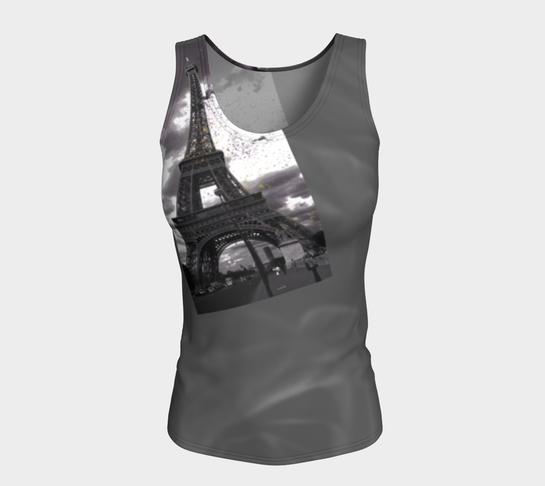 Paris Grey Roses & Hint of Purple Eiffel Tower ealanta Fitted Tank Top Fitted Tank Top (Long)- ealanta Art Wear