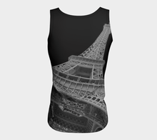 Eiffel Tower Black background Fitted Tank Top ealanta Fitted Tank Top (Long)- ealanta Art Wear