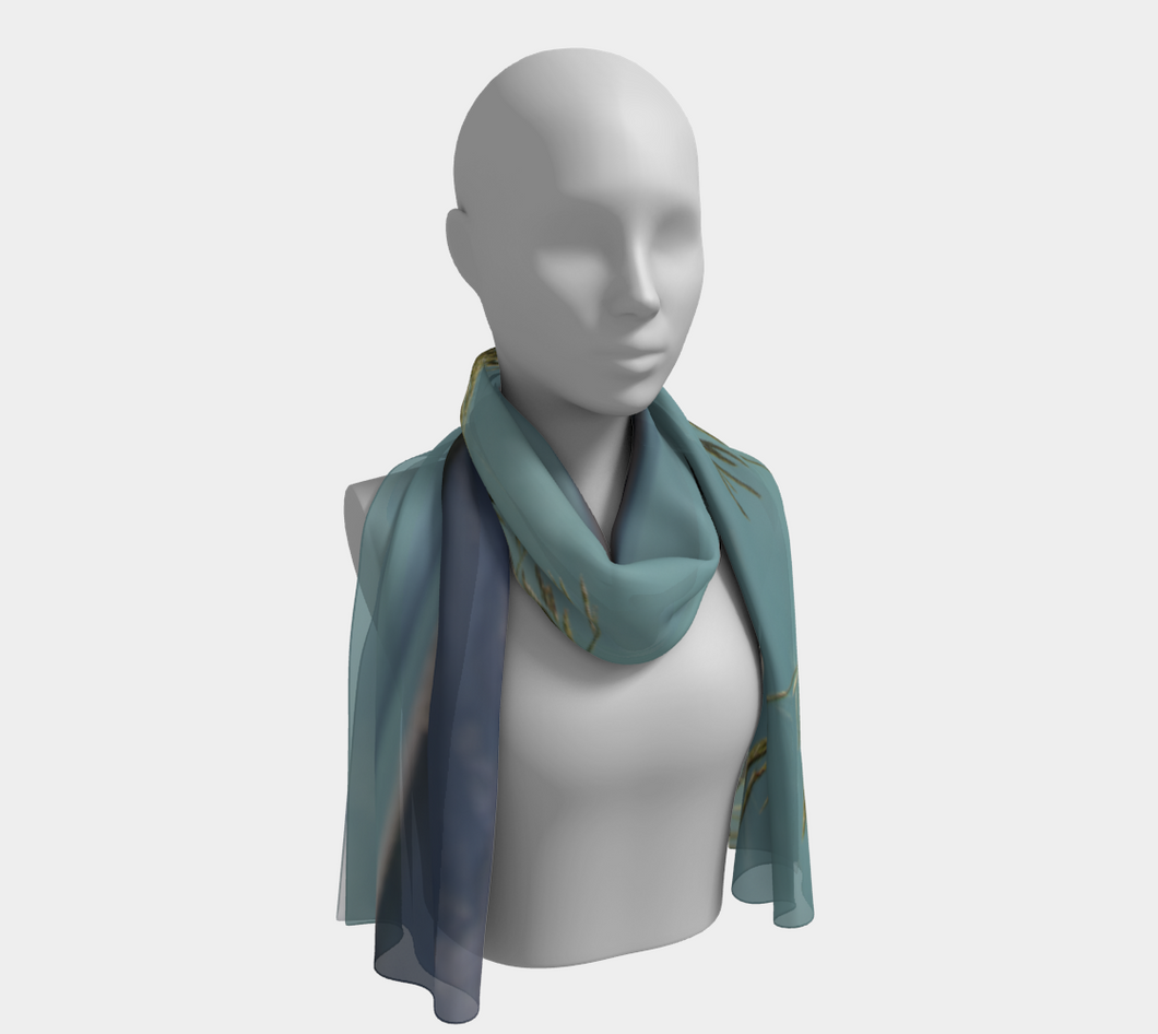 Abraham Lake Alberta Mountain view ealanta Long Scarf Long Scarf- ealanta Art Wear