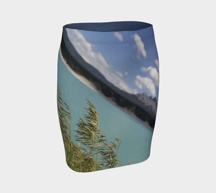 Abraham Lake Alberta Mountain view ealanta fitted  skirt Fitted Skirt- ealanta Art Wear