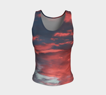 Pink Prairie Skies ealanta form fitted Tank Top Fitted Tank Top (Regular)- ealanta Art Wear