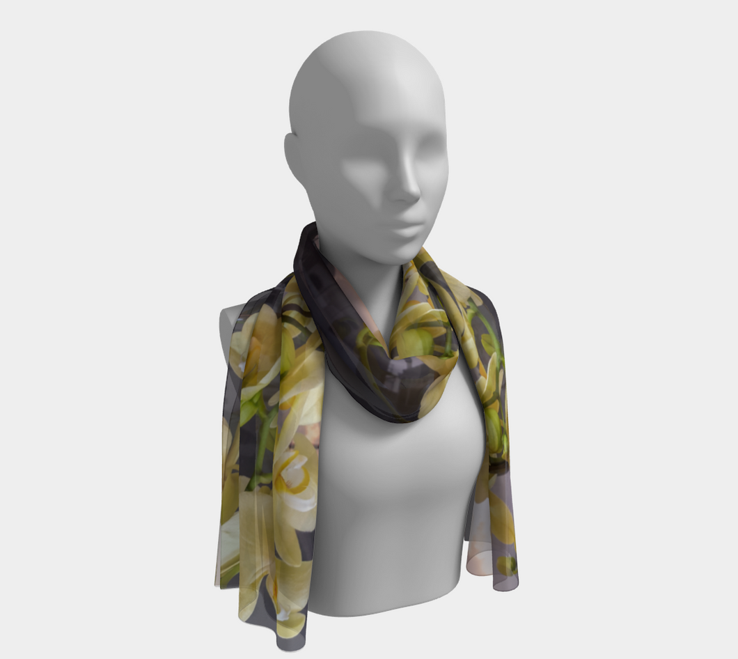 Butter Yellow Orchid Blossoms on the Grande Canal of Venice ealanta scarf Long Scarf- ealanta Art Wear