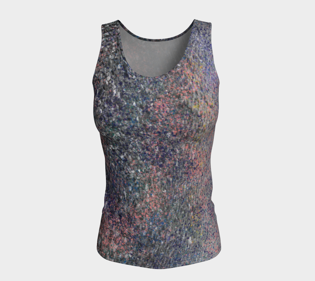 Monet Inspired Pebbles in the Shuswap ealanta  Fitted Tank Top
