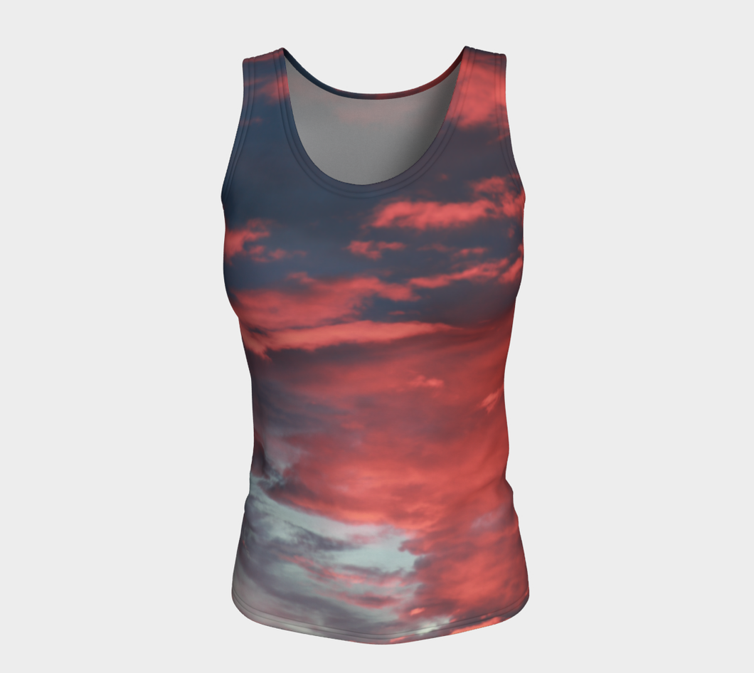 Pink Prairie Skies ealanta form fitted Tank Top Fitted Tank Top (Long)- ealanta Art Wear