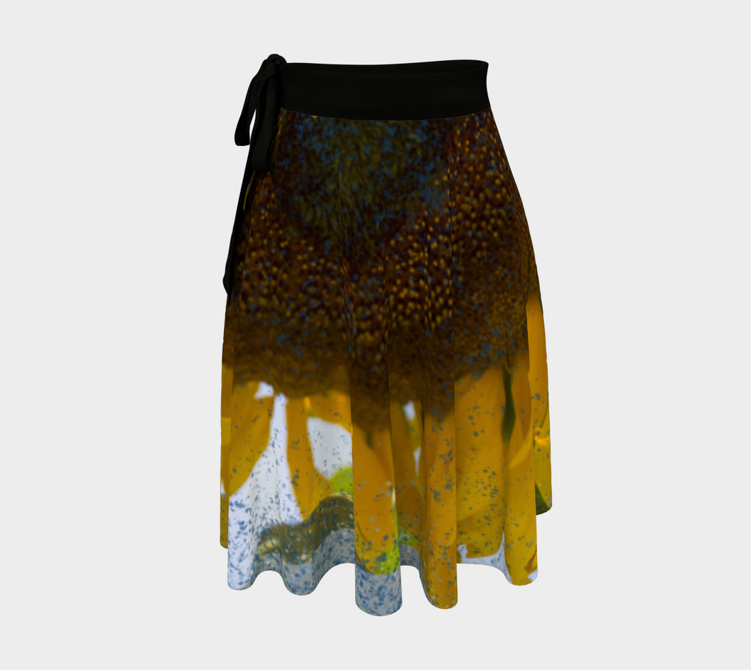 Sunflower in Blue Rain ealanta Wrap Skirt Wrap Skirt- ealanta Art Wear