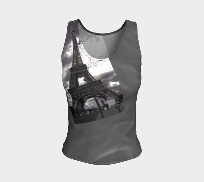 Paris Grey Roses & Hint of Purple Eiffel Tower ealanta Fitted Tank Top Fitted Tank Top (Regular)- ealanta Art Wear