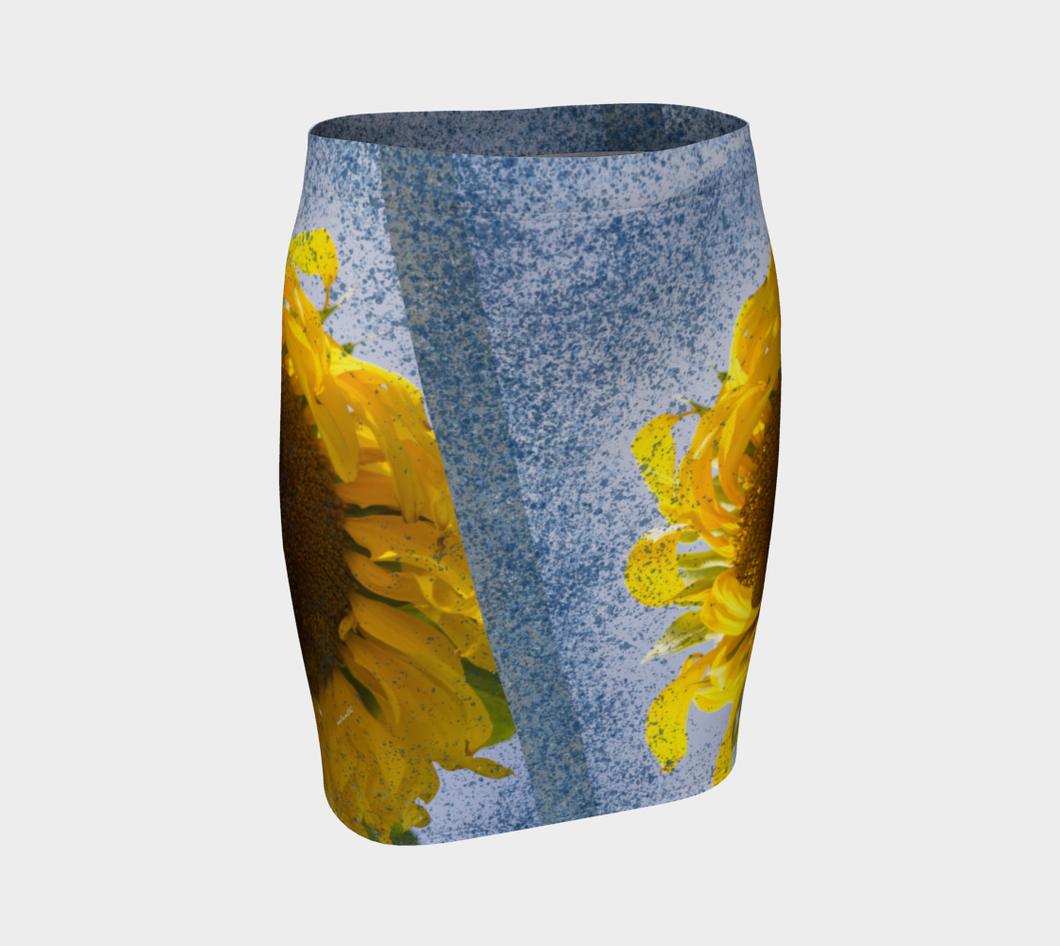 Sunflower in Blue Rain ealanta Fitted  Skirt Fitted Skirt- ealanta Art Wear