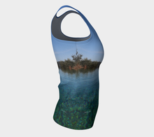 Tuscan Pool View  fitted Tank Fitted Tank Top (Long)- ealanta Art Wear