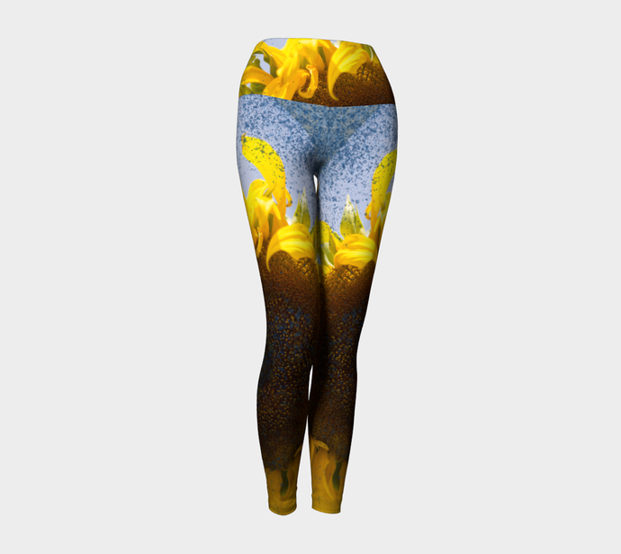 Sunflower in Blue Rain ealanta Yoga Leggings/Pants Yoga Leggings- ealanta Art Wear