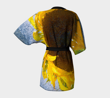 Sunflower in Blue Rain ealanta Kimono Kimono Robe- ealanta Art Wear