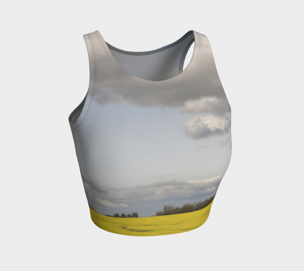 Clouds over Canola ealanta Athletic Crop Top Athletic Crop Top- ealanta Art Wear