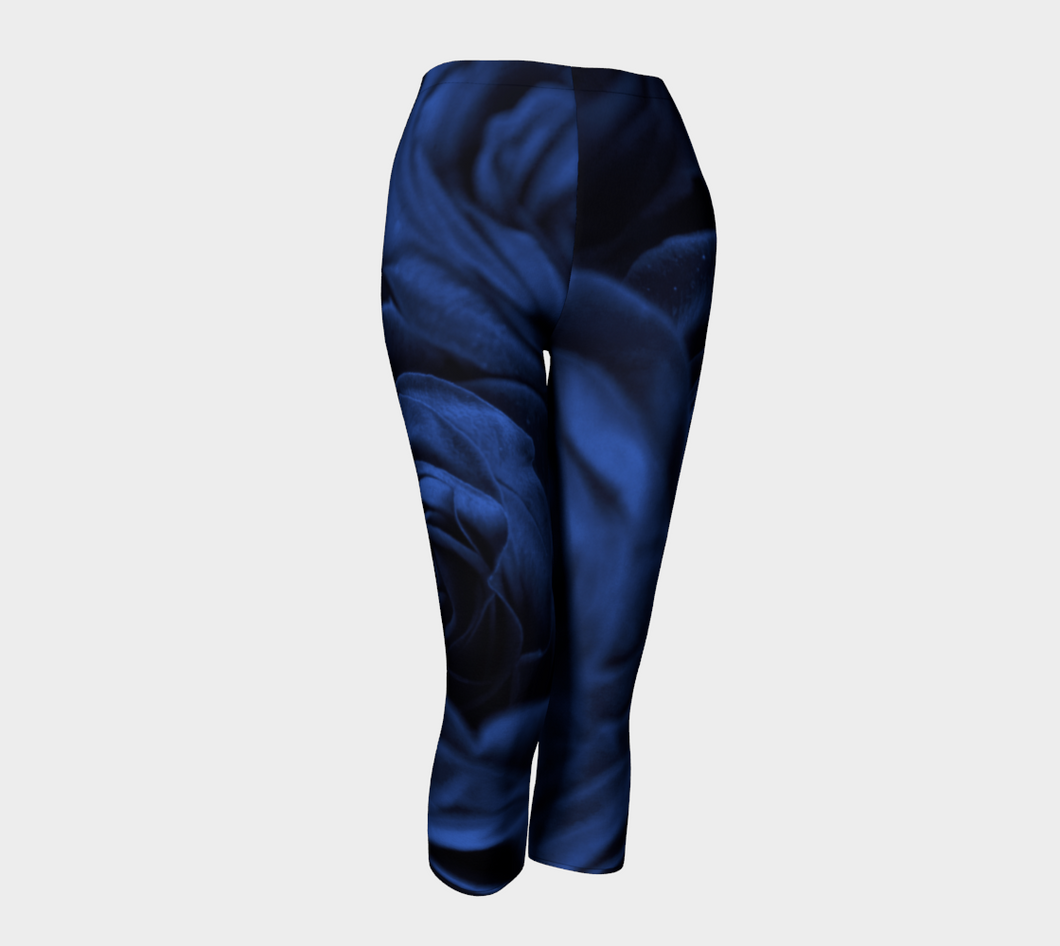 Roses in Cool Blue Capri Leggings ealanta Capris- ealanta Art Wear