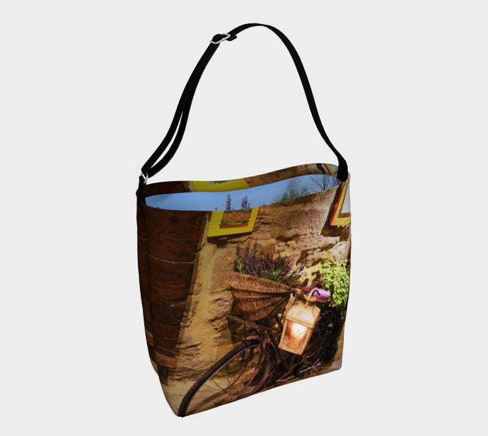 Lavender Delivery Bicycle Cortona Italy + Lavender inside ealanta.ca Day Tote- ealanta Art Wear