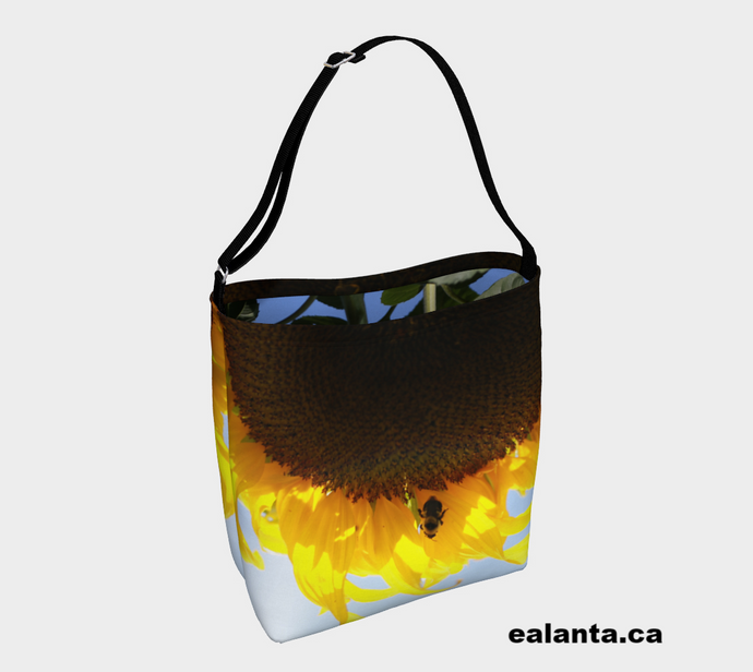 YEG Bee + Sunflower ealanta Day Tote Stretchy Neopreen Day Tote- ealanta Art Wear