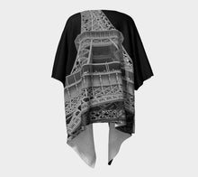 Eiffel Tower black background ealanta Kimono Wrap Draped Kimono- ealanta Art Wear