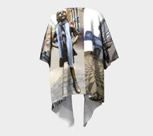 New York Fearless Girl Wall Street Imagine Collage ealanta Draped Kimono- ealanta Art Wear