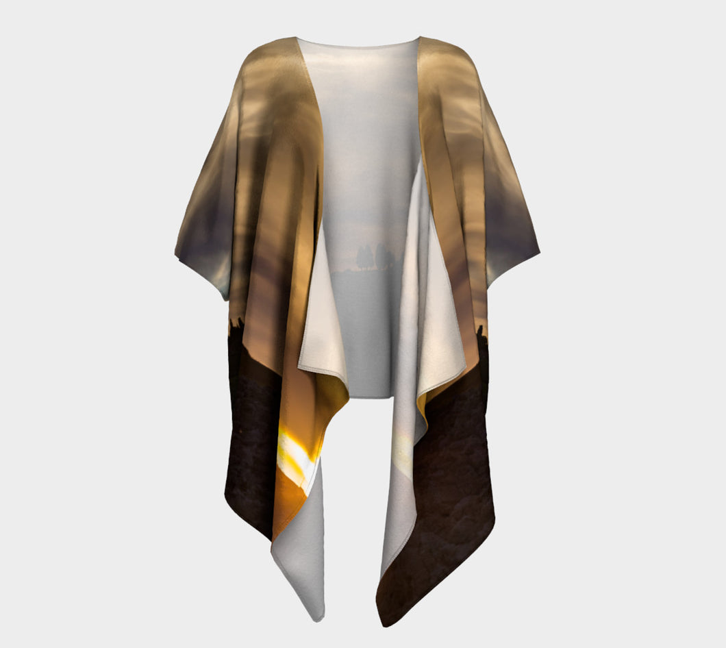 Cypress Sunset Tuscany Italy ealanta Draped Kimono- ealanta Art Wear