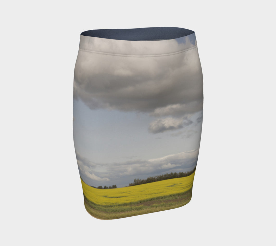 Clouds over Canola ealanta Fitted Skirt Fitted Skirt- ealanta Art Wear