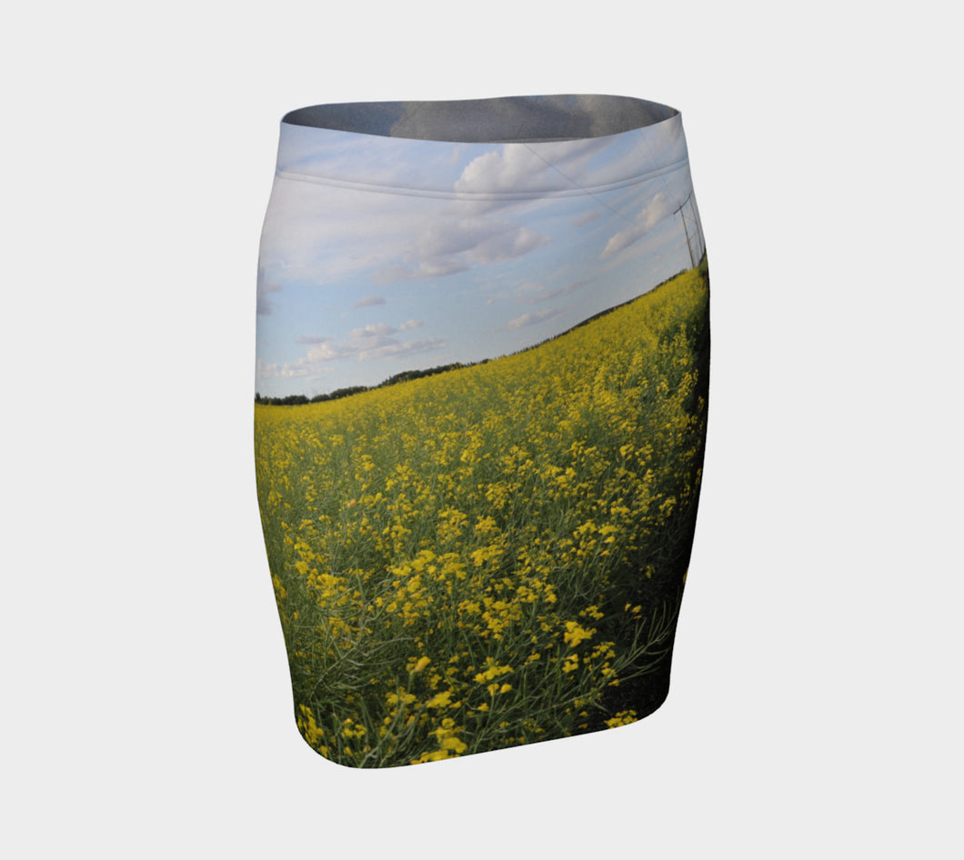 Prairie Fields of Golden Canola Fitted Skirt- ealanta Art Wear