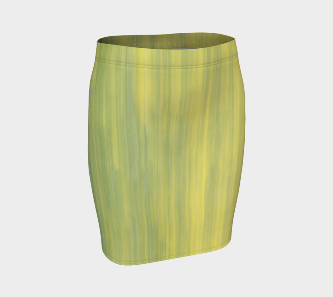 Green & Gold Vertical Abstract Fitted Skirt- ealanta Art Wear