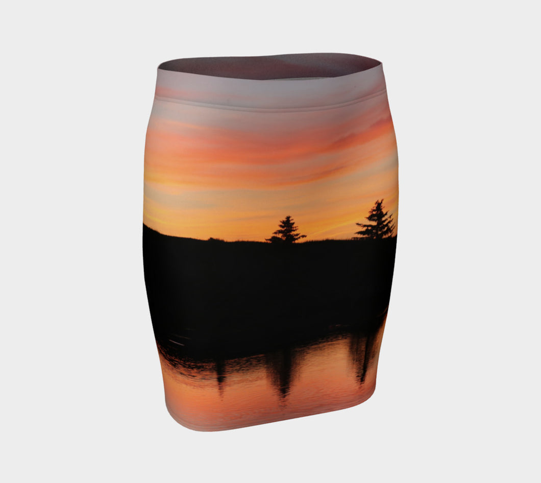Sunset on Lake Beaumont Fitted Skirt- ealanta Art Wear