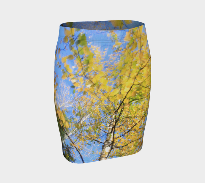 Alberta Poplar swirl ealanta skirt Fitted Skirt- ealanta Art Wear