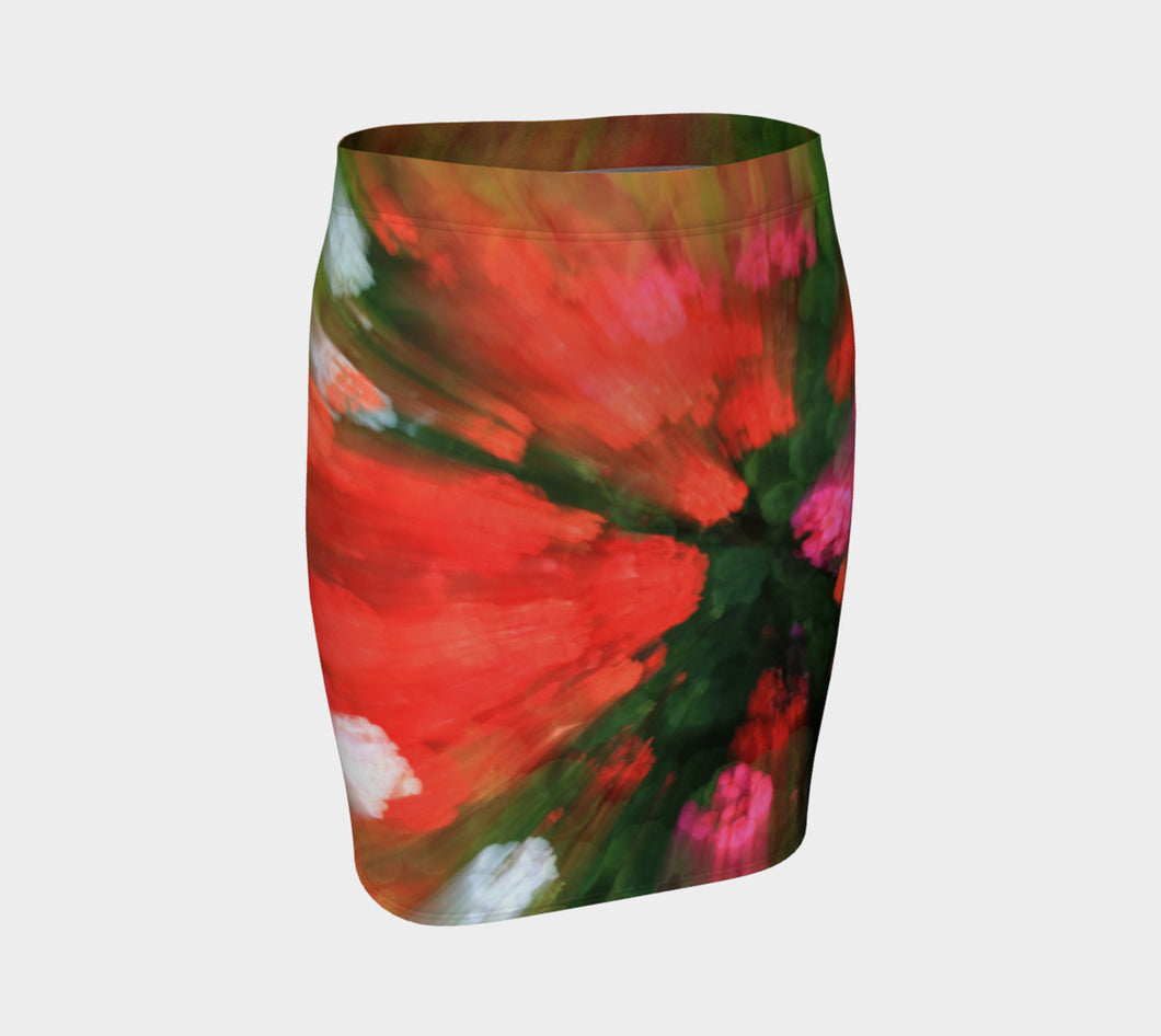 Floral Splash fitted Skirt Fitted Skirt- ealanta Art Wear