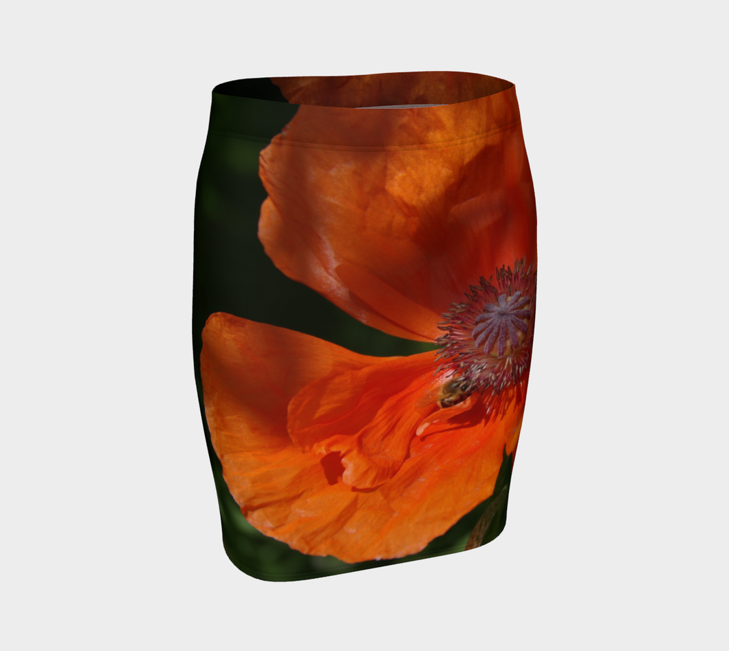 Bees at Work in Orange Poppy fitted skirt Fitted Skirt- ealanta Art Wear
