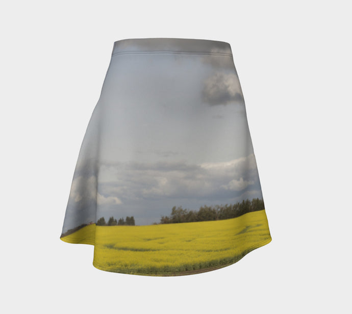 Clouds over Canola ealanta Flared Skirt Flare Skirt- ealanta Art Wear