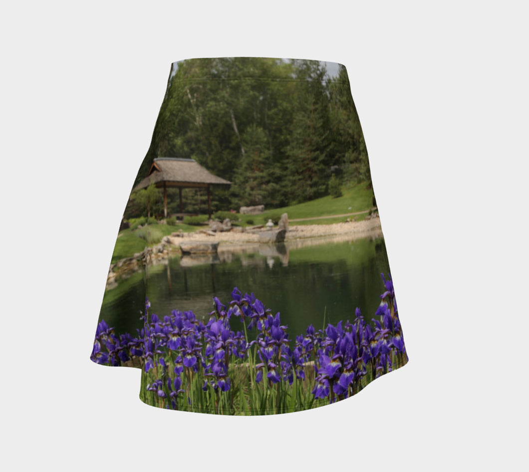 Purple Iris Pond Flare Skirt- ealanta Art Wear