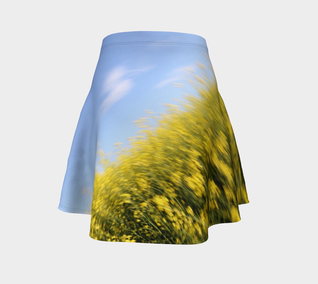 Canola Canadian Gold Skirt Flare Skirt- ealanta Art Wear