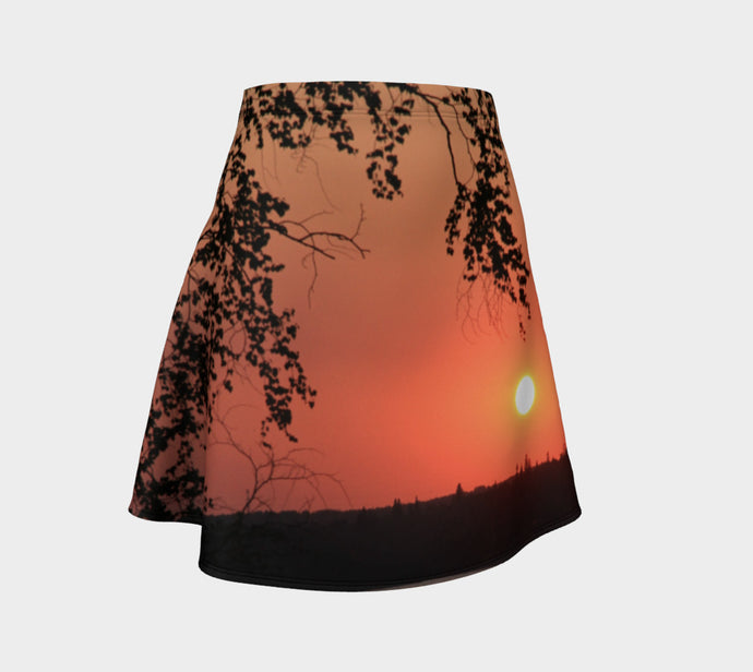 Fire in the Sky flared skirt Flare Skirt- ealanta Art Wear